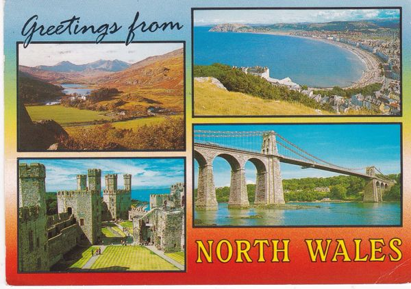 Post Card WALES GREETINGS FROM NORTH WALES Salmon Cameracolour 1991