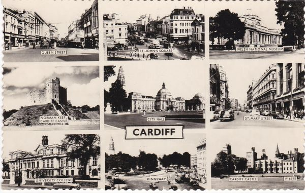 Post Card WALES CARDIFF 9 views Valentine's Real Photo