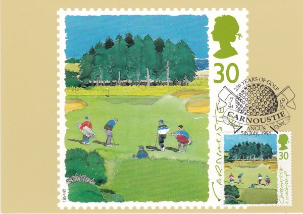 Post Card 30p stamp issued 5 July 1994 depicting Golf Carnoustie : Luckyslap with applied real franked stamp