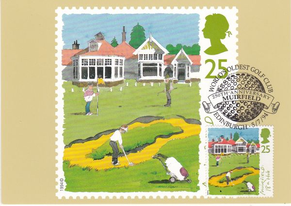 Post Card 25p stamp issued 5 July 1994 depicting Golf Muirfield : 18th Hole with applied real franked stamp