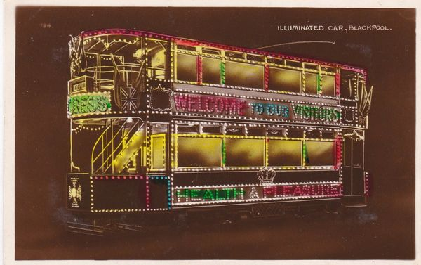 Post Card Lancashire BLACKPOOL Illuminated Car Allen & Sons