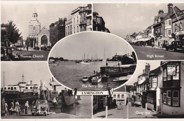 Post Card Hampshire LYMINGTON 5 views Salmon Series