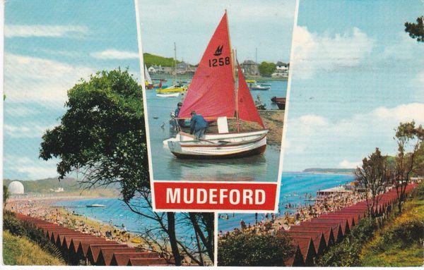 Postcard Dorset MUDEFORD 3 views Dennis Productions M.2219