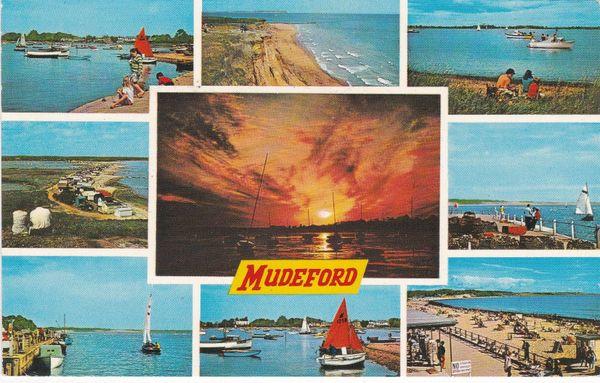 Postcard Dorset MUDEFORD 9 views Dennis Productions M.2214