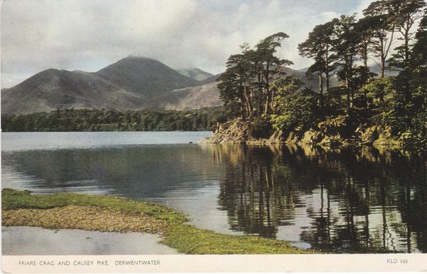 Post Card Cumbria Lake District Derwentwater Friars Crag and Causey Pike Jarrold Cotman-Color KLD 168
