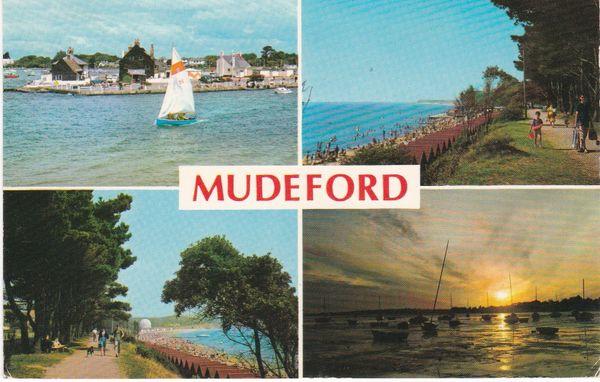 Postcard Dorset MUDEFORD 4 views Dennis Productions M.2212