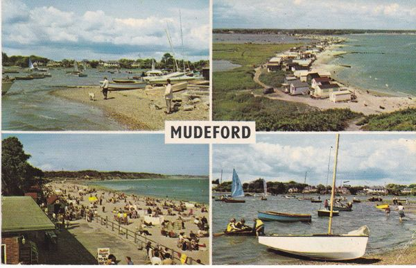 Postcard Dorset MUDEFORD 4 views PLC2667