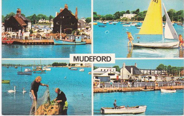 Postcard Dorset MUDEFORD 4 views Colourmaster International PLC2854