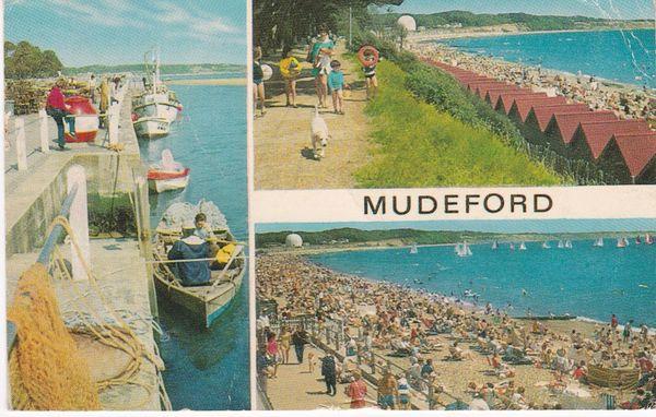 Postcard Dorset MUDEFORD 3 views J Salmon Ltd.,1-56-06-07