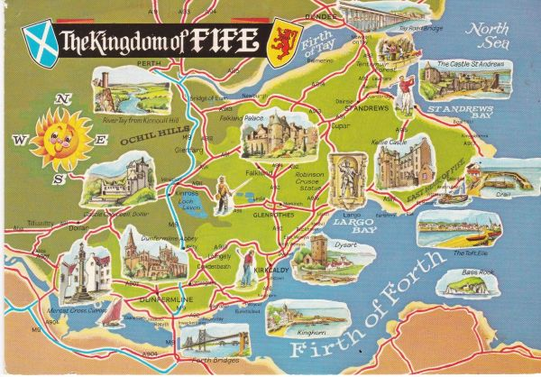 Post Card illustrated map THE KINGDOM OF FIFE A Dennis Postcard Photocolour F.2220L