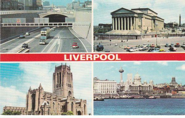 Post Card Lancashire / Merseyside LIVERPOOL 4 views Dennis Photocolour L.0737