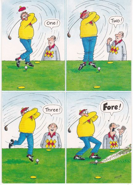Post Card Comic / Golf The Funny Side of Life One! Two! Three! Fore! J. Salmon Ltd.