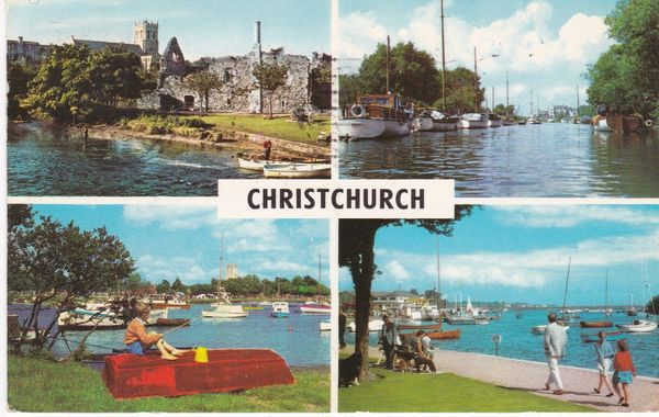 Postcard Dorset CHRISTCHURCH 4 views PLC2658