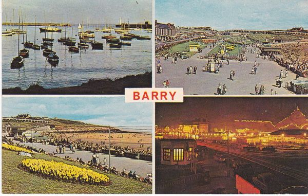 Post Card WALES Glamorgan BARRY 4 views Plastichrome