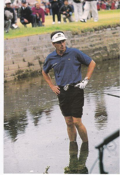"Post Card Golf / Scotland ""Sacre Bleu"" Jean Van de Velde in the burn at the 72nd hole Open Championship 1999, Carnoustie"