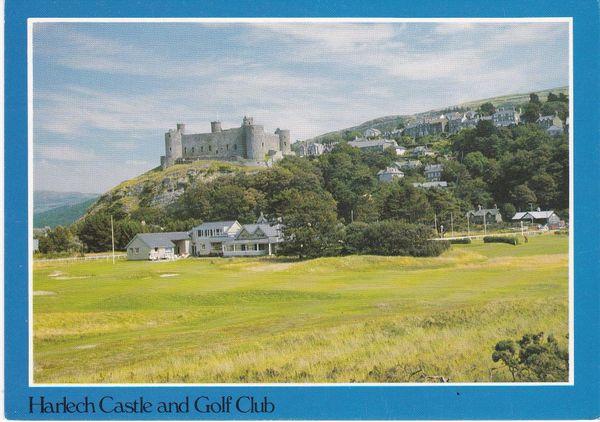 Post Card WALES Gwynedd HARLECH CASTLE and Golf Club Judges C10615