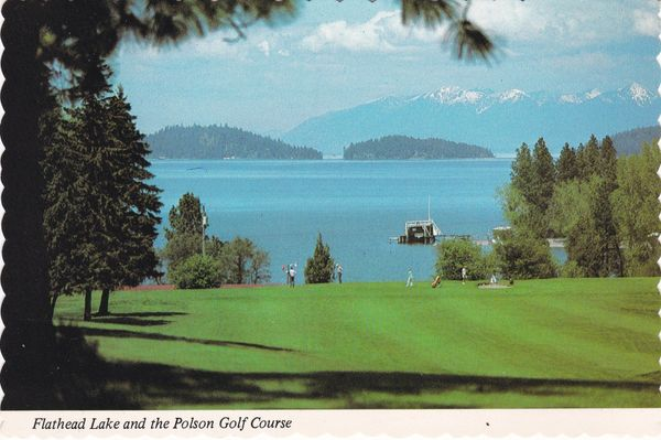 Post Card United States Montana POLSON Golf Course and Flathead Lake Dan Sample Postcards B12972