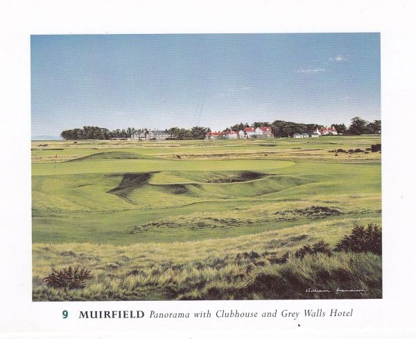 Post Card Scotland East Lothian GULLANE Muirfield (9) Golf Course Panorama with Clubhouse and Grey Walls Hotel