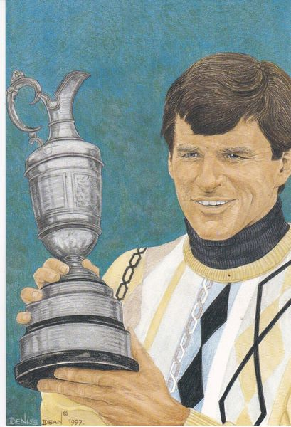 golfer NICK FALDO winner 116th Open Championship 1987 with statistics Hawthorn Brook Fine Arts