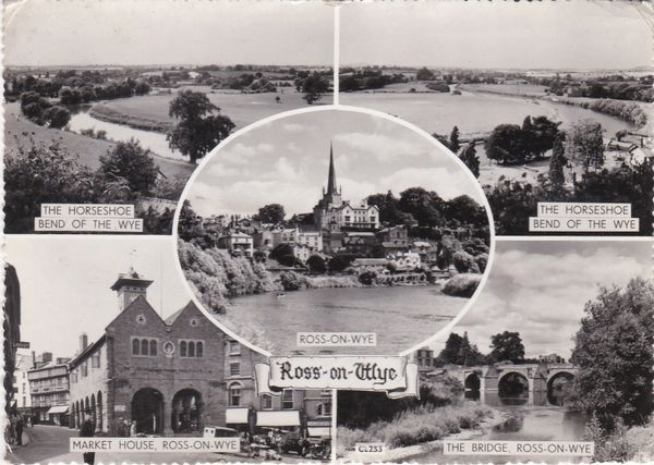 Post Card Herefordshire ROSS-ON-WYE 5 views REAL PHOTOGRAPH