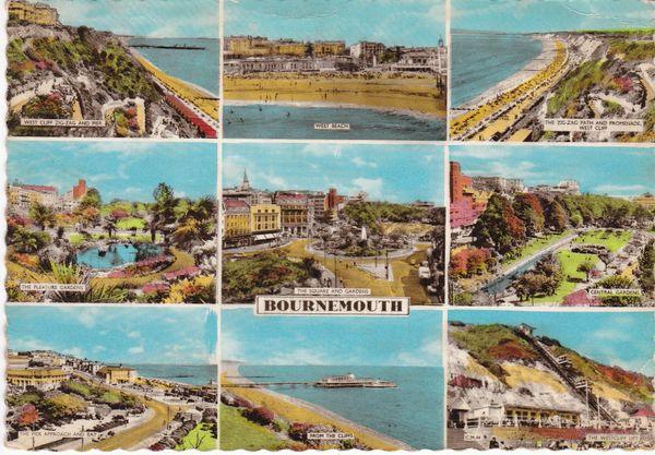 Postcard Dorset BOURNEMOUTH 9 views Sunray Series 1961