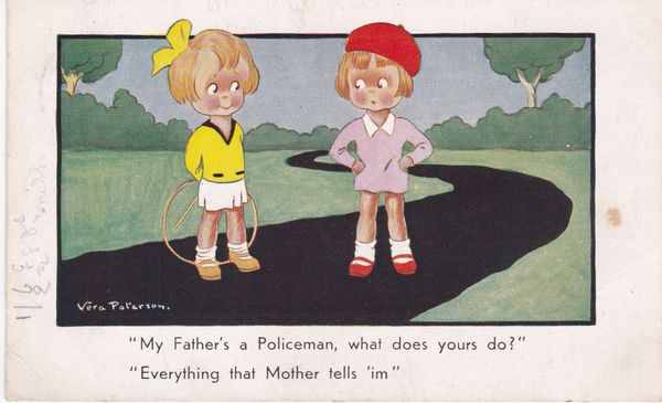 Post Card Comic My Father's a Policeman Cartoon by Vera Paterson The Regent Series No. 316