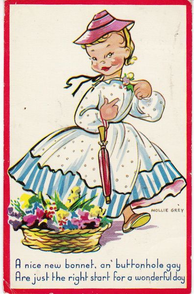 Post Card MOLLIE GREY series A Nice New Bonnet Dennis Productions
