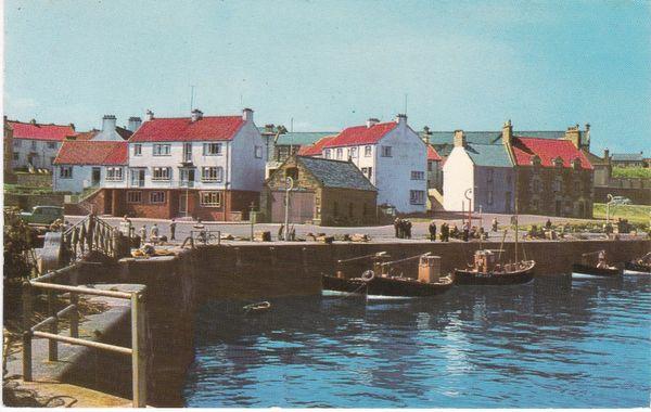 Post Card Scotland East Lothian DUNBAR Victoria Harbour and Saltire Award Houses Dennis