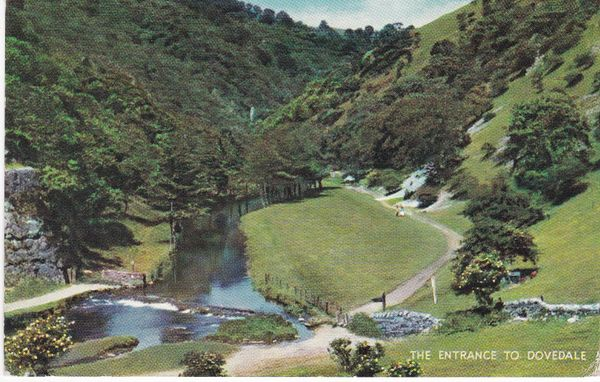 Post Card Derbyshire Dovedale The Entrance to Dovedale Salmon Cameracolour 1599c