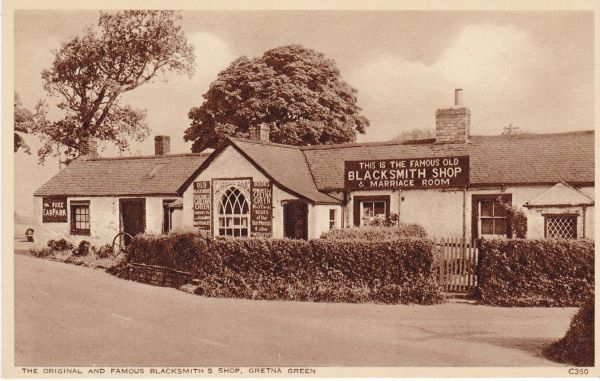 Post Card Scotland Dumfries and Galloway GRETNA GREEN The Original and Famous Blacksmith's Shop Photochrom C350