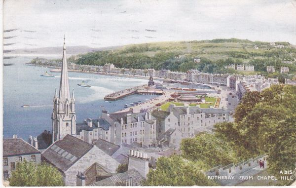 "Post Card Scotland Argyll and Bute ROTHESAY from Chapel Hill Valentine's ""Art Colour"" A 315 1935"