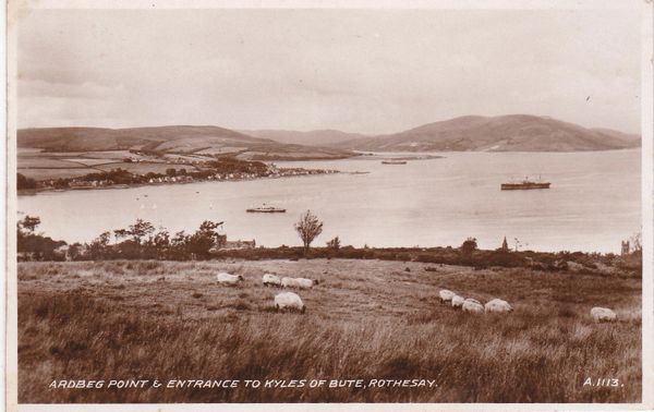 Post Card Scotland Argyll and Bute ROTHESAY Ardbeg Point & Entrance to Kyles of Bute Valentine's A.1113