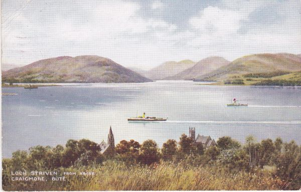"Post Card Scotland Argyll and Bute CRAIGMORE Loch Striven from above Craigmore Valentine's ""Art Colour"" A 322"