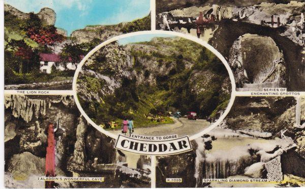 Postcard Somerset CHEDDAR 5 views