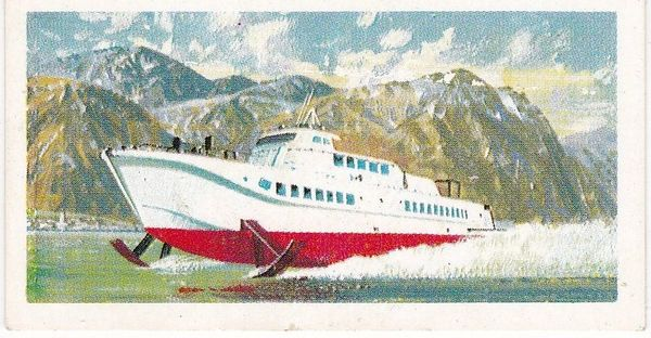 Trade Card Brooke Bond Transport Through the Ages No 46 Hydrofoil