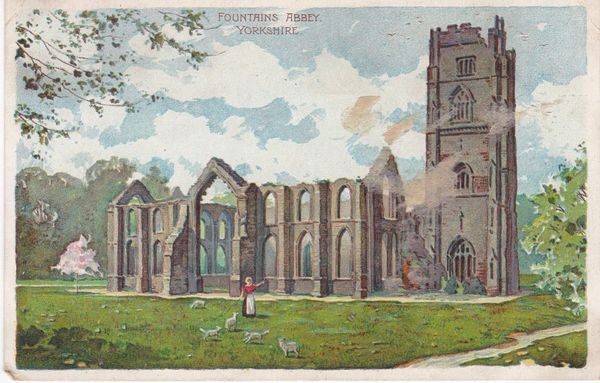 Post Card Yorkshire FOUNTAINS ABBEY issued by the Proprieters of Colman's Starch