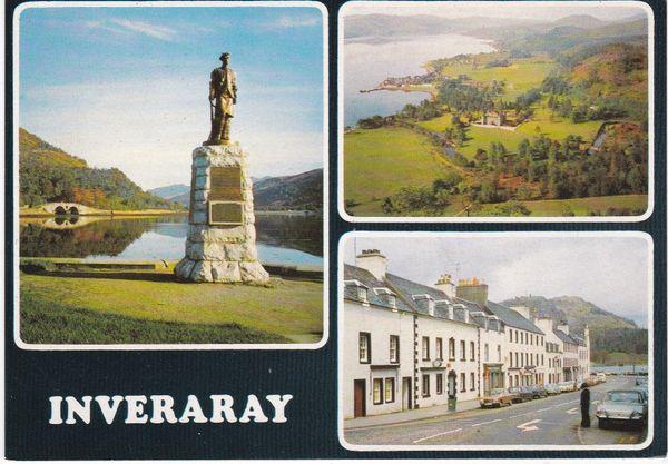 Post Card Scotland Argyll and Bute INVERARAY 3 views Dixon PAR/24240