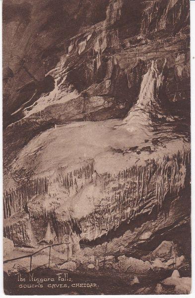 Postcard Somerset CHEDDAR Gough's Caves The Niagara Falls Lion Rock Bazaar