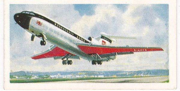 Trade Card Brooke Bond Transport Through the Ages No 43 Modern Jet Aircraft
