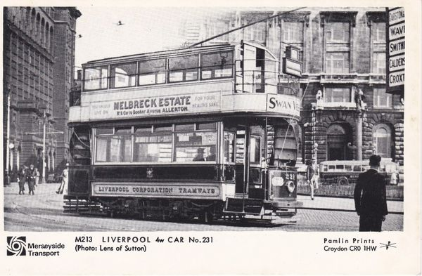 Post Card Lancashire / Merseyside Liverpool OLD LIVERPOOL Merseyside Transport 4w CAR No.231 Pamlin Prints