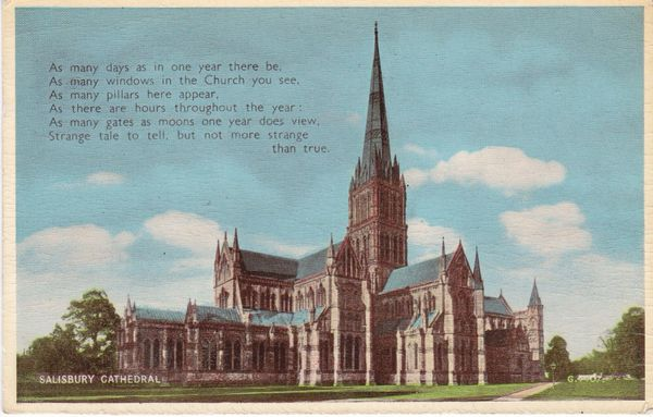 """Post Card Wiltshire Salisbury Cathedral Valentine's """"Carbo Colour"""" 1059V"""