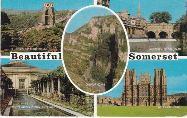 Postcard Somerset BEAUTIFUL SOMERSET 5 views Salmon Cameracolour 2860c