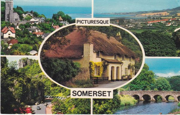 Postcard Somerset PICTURESQUE SOMERSET 5 views Photo Precision Ltd. Colourmaster