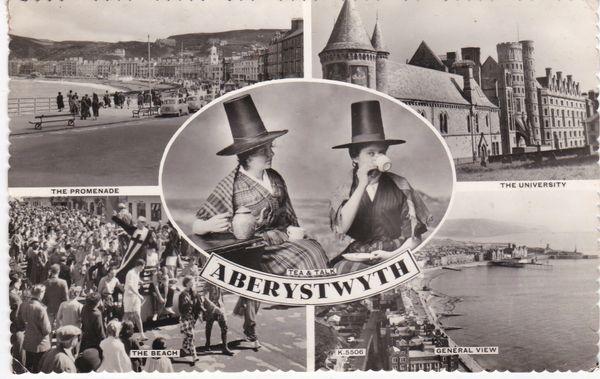 Post Card WALES Dyfed ABERYSTWYTH 4 views + Harvey Barton