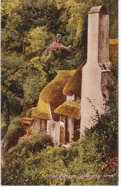 Postcard Somerset SELWORTHY Corna Cottages Blackmore A548