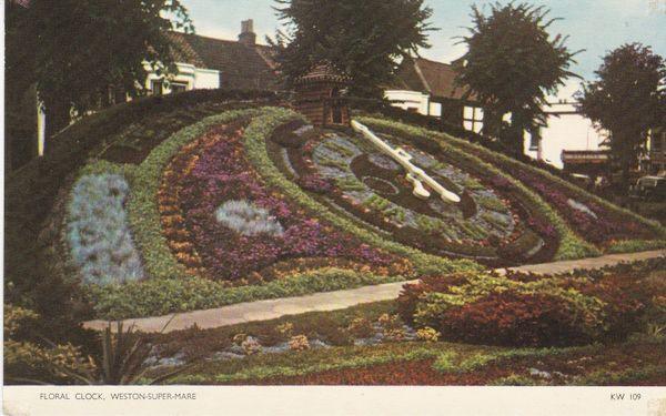 Postcard Somerset WESTON-SUPER-MARE Floral Clock Jarrold Cotman-Color KW 109