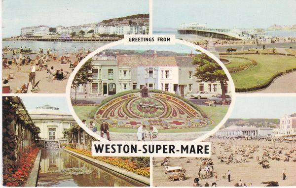 Postcard Somerset WESTON-SUPER-MARE Greetings from 5 views PLC6164