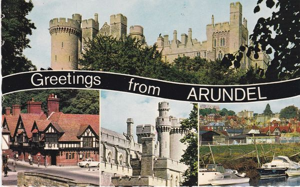 Post Card Sussex ARUNDEL Greetings from 4 views Constance V.8533