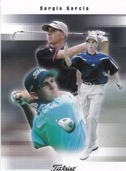 Advertising Titleist golfing products featuring golfer SERGIO GARCIA