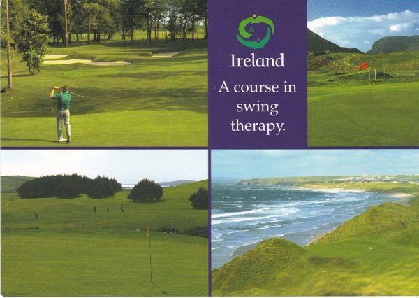 Post Card Advertising IRELAND Golfing 4 views Irish Tourist Board